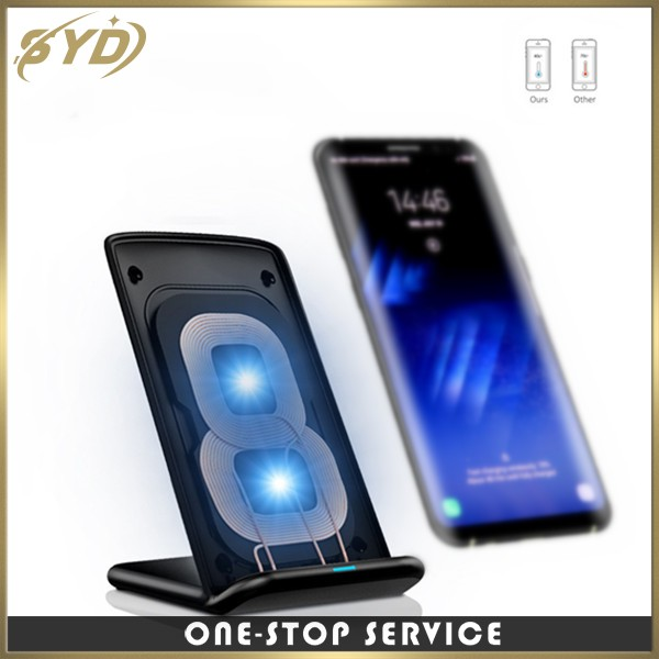 2017New products Qi fast wireless charger for iphone8/iphoneX/note8/s8