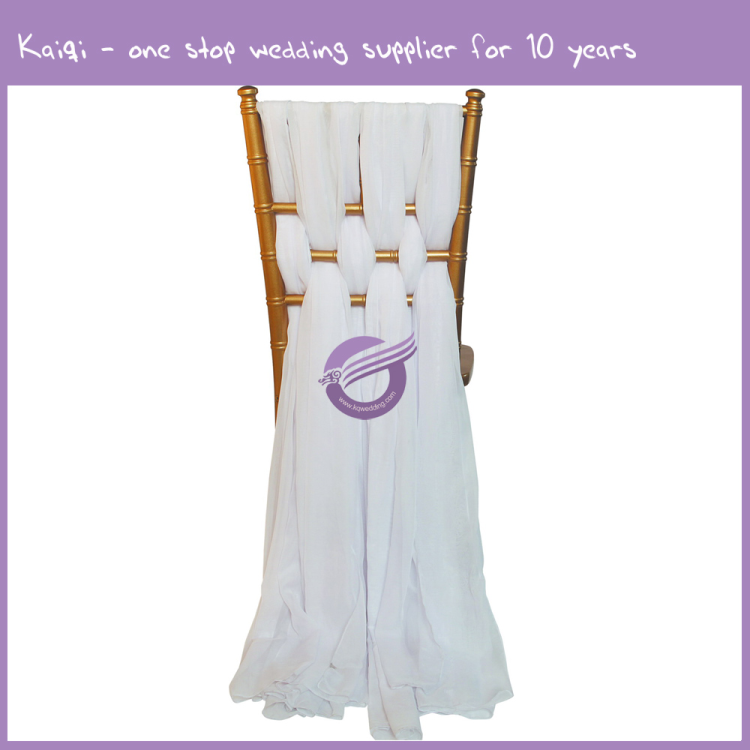 BS00382 Fancy cream cheap wholesale wedding chiffon chair sash