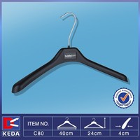 Sale heavy duty round shoulder plastic clothes hanger with metal hook C80