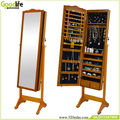 White Finish Korean Style Cheval Mirror Wood Jewelry Cabinet for Living Room
