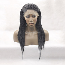 Heat Resistant Black Braiding Hair Synthetic Long Lace Front Wig African American Braided Wigs For Woman