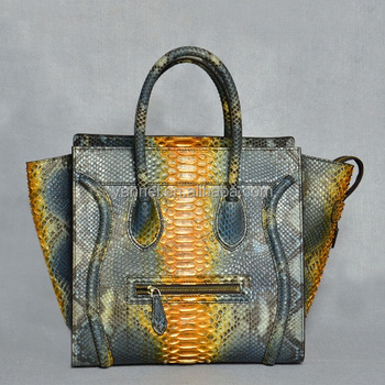 leather handbags women european style ladies tote bags python skin purse