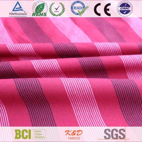 woven red custom plain tc 45cvc polyester cotton stripe fabric for shirts