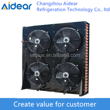 Fan air condenser for cold storage side exhausted