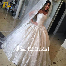 Custom Made High Quality Sweetheart Neckline Ball Gown Wedding Dresses With Long Veil
