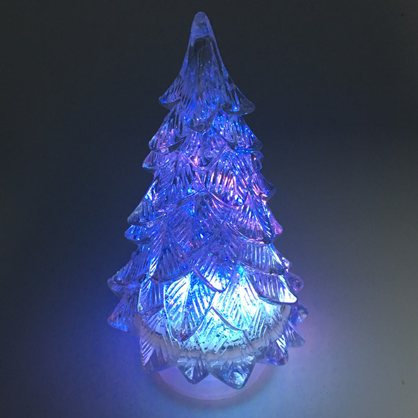 Battery Operated Color Changing Acrylic Led Table Xmas Tree with Water inside
