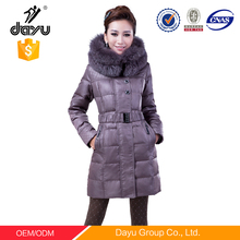 High-end 107G-143G duck feather long down coat with Double-layers fox fur winter brown casual woman hoodies jacket Fox fur coat
