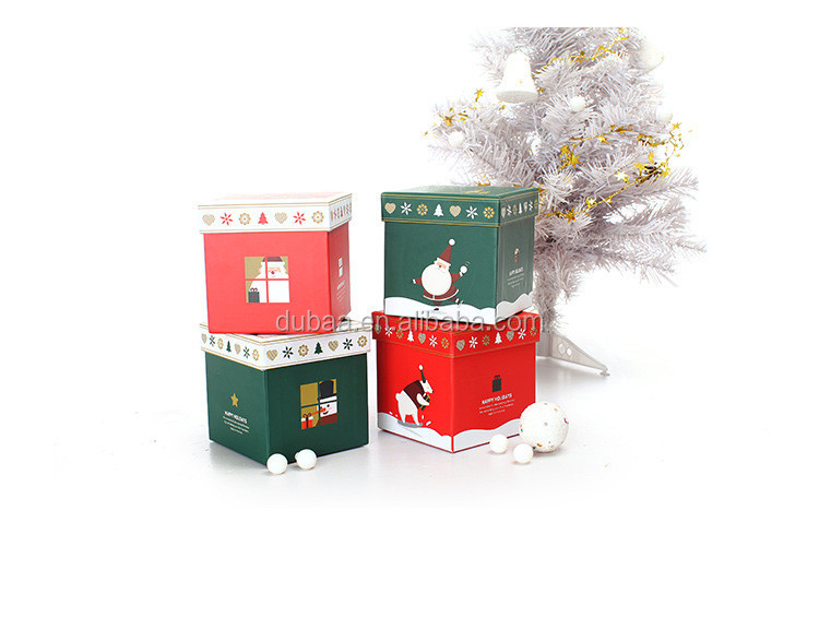 Lot of 4 Small Nesting GIFT BOX Boxes CHRISTMAS Present (Polar Bear Santa Claus Gloves Snowman) NEW