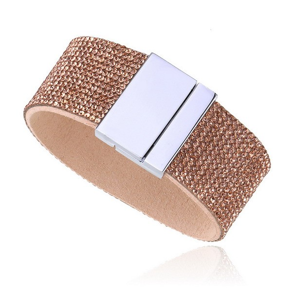 Tan Leather Bracelets Diamond Paved Statement Bracelets