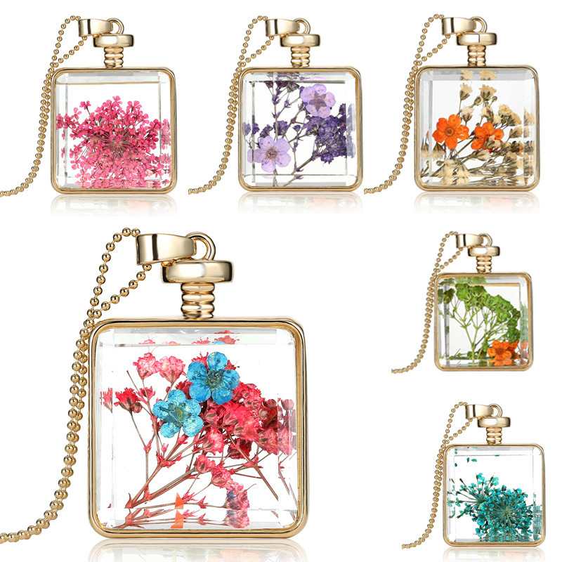 Clear Resin Fashion Square Dry Flower necklace Pendant Charms Locket Necklace
