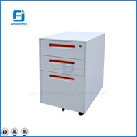 Office Furniture White Mobile Pedestal 3 Drawers Cabinet Steel Filing