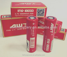 Hot selling!! AWT 3000mah 40A / 3500mah 35A 3.7v tc mod battery li-ion high drain rechargebale battery 18650 awt 3500mah