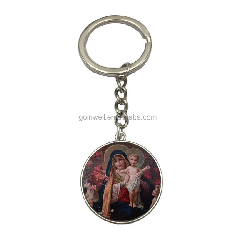 2017 cheap items to sell catholic religious metal keychain with icon zinc alloy epoxy image keychain