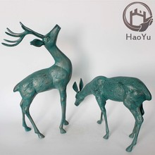 bronze two deer sculpture for garden decoration