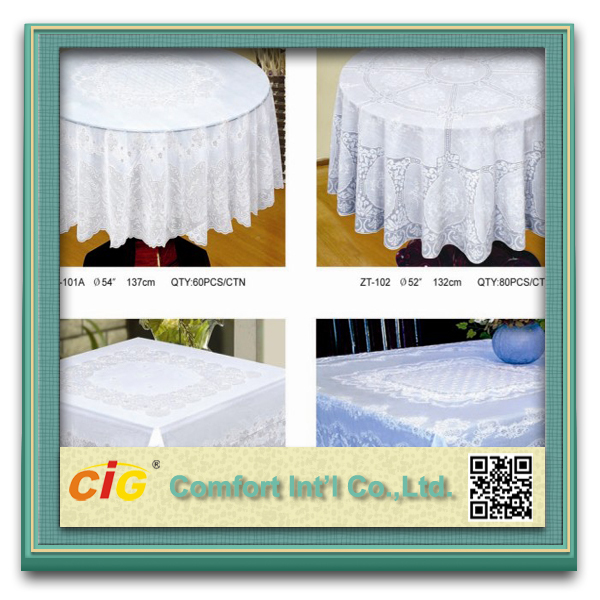Heavy Duty Embroidered Square Round Plastic Wedding Lace PVC Tablecloth
