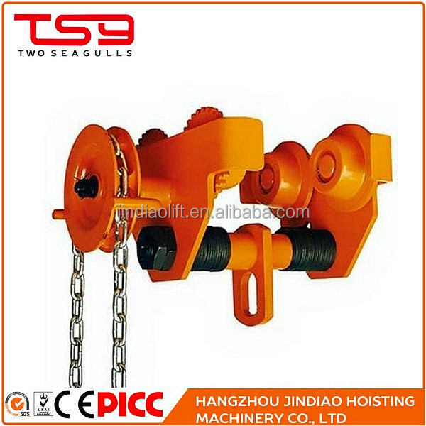 New Design Geared Monorail Trolley / Beam Lifting Trolley Hoist