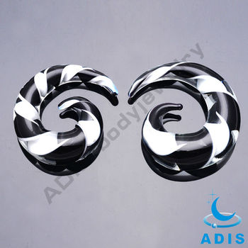 Charming design wholesale custom clear ear spiral glass plug