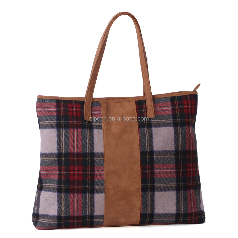 Personalized Adorable Monogrammed Plaid Tote Bag