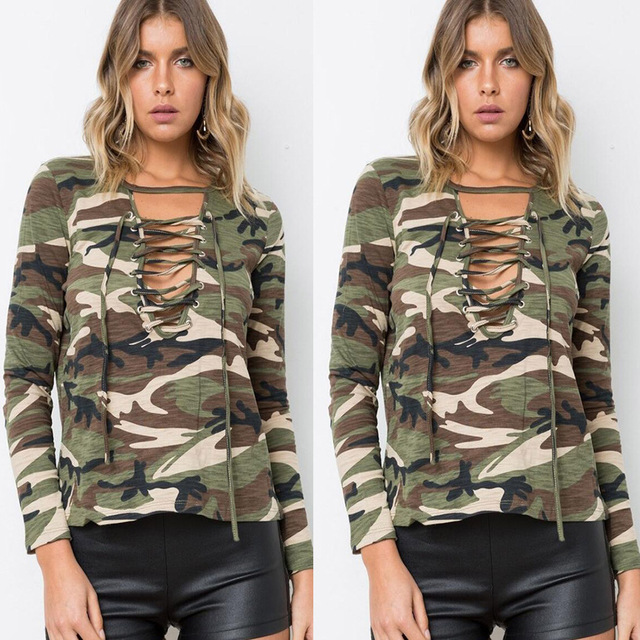 X63186A Autumn Lace Up Tops Tee Vintage Camouflage Women Blouses