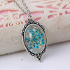 Alloy Natural Dried Flower Pendant Necklace Jewelry