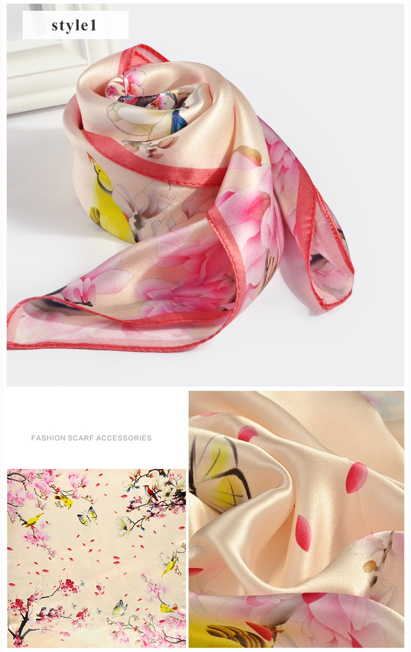 Factory direct floral digital print square silk scarf for 2017 spring