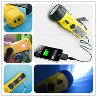 2013 new products multfunctional solar dynamo led flashlight with mobile charger siren