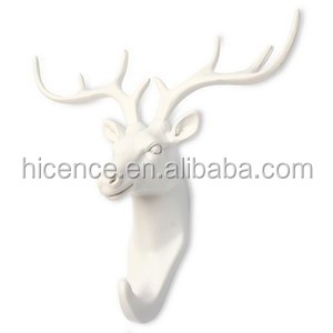 Gold Polyresin and various animals head hook for wall decoration