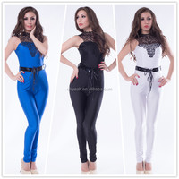Top quality adult women sexy bodycon polyester spandex onepiece jumpsuit