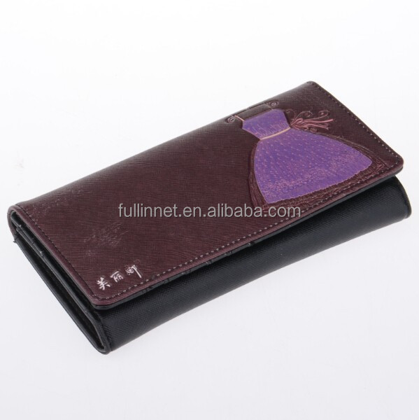 Black Evening Dress Color Printing Lady Wallet/New Model Ladies Purses/Festival gift