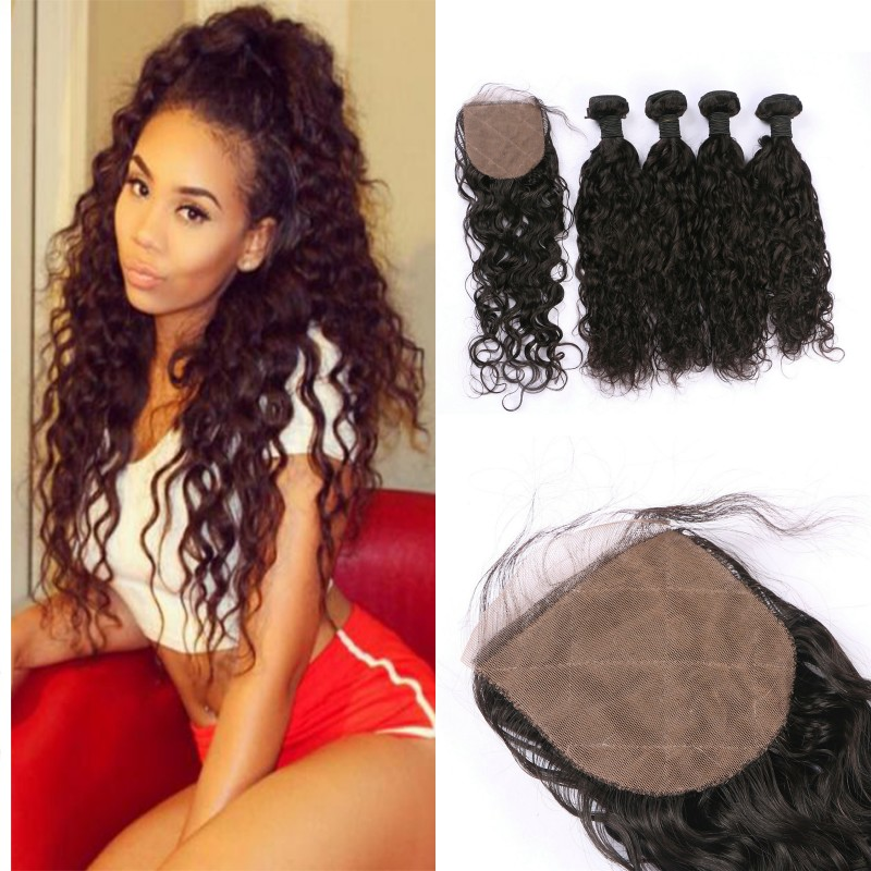 4 Bundles With Closure Unprocessed Human Hair Peruvian Water Wave Hair <strong>Weaves</strong> With Lace Top Closures