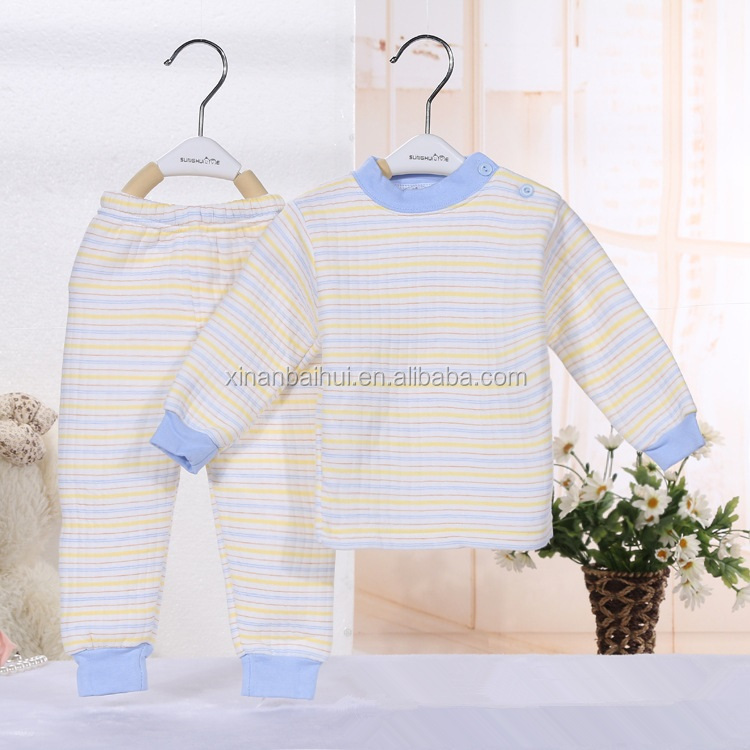 Autumn and Winter stripe Baby underwear for 0-2T Kids Clothing Sets Two Pieces Cute Boy/Girl baby clothing sets