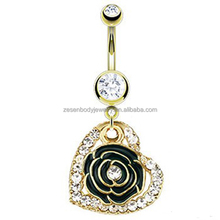 Sexy cheap wholesale clear crystal rose heart shape gold chain dangle belly ring navel piercing body jewelry