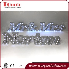 TourGo Mr and Mrs Light up Letters Glitter top table sign