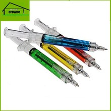 Factory price plastic needle tubing ball pen,stylish needle tubing ballpoint pen,colored gel barrel syringe pen