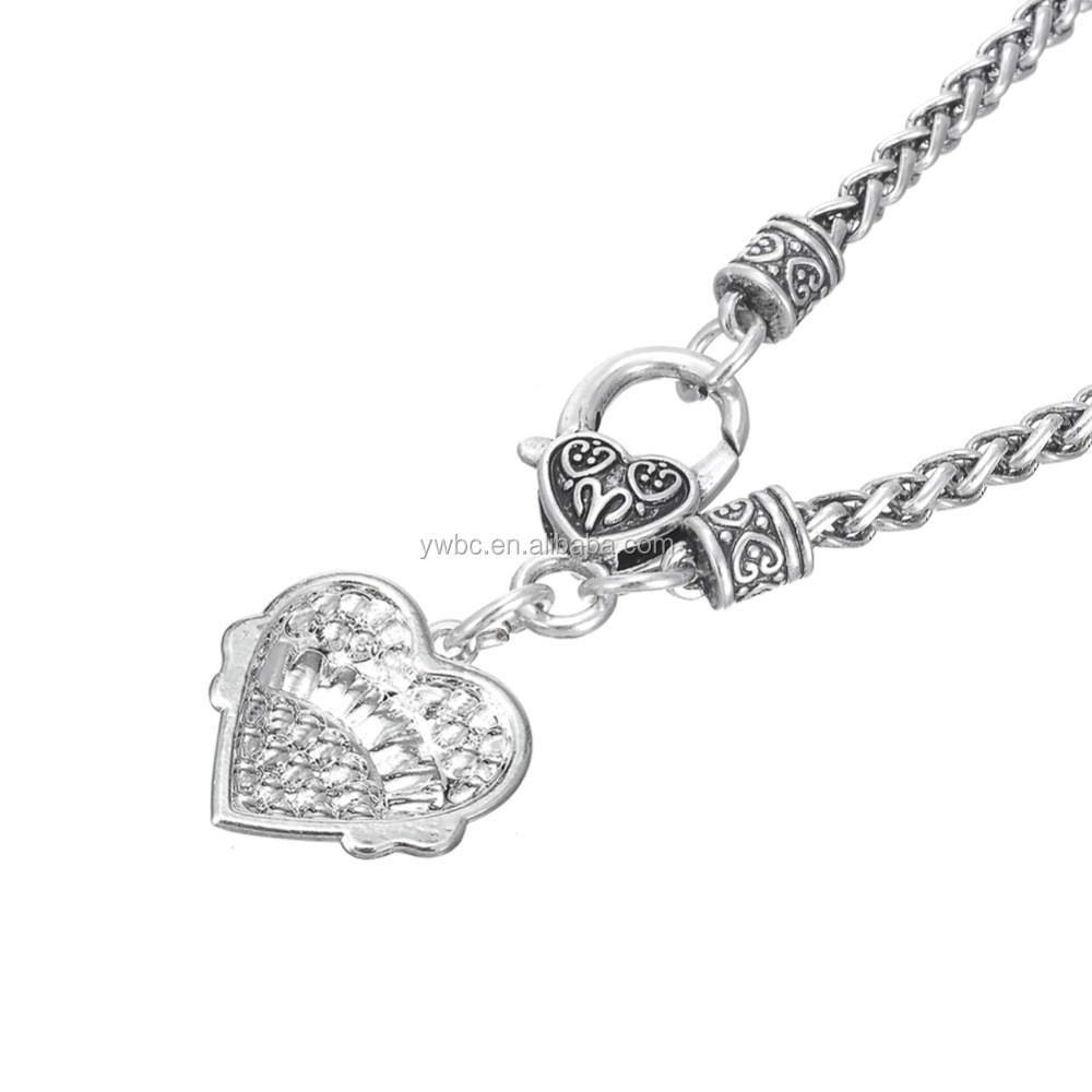 Top Selling Unique Handmade Silver Grandma Heart Crystal Charm Necklace