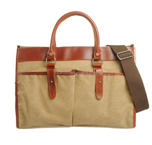 Spring French Design Fashion Bag Genuine Leather Canvas Man 's Top-handle handbags