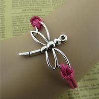 Handmade Jewelry Gift Dragonfly Charm Retro Wax Bracelet
