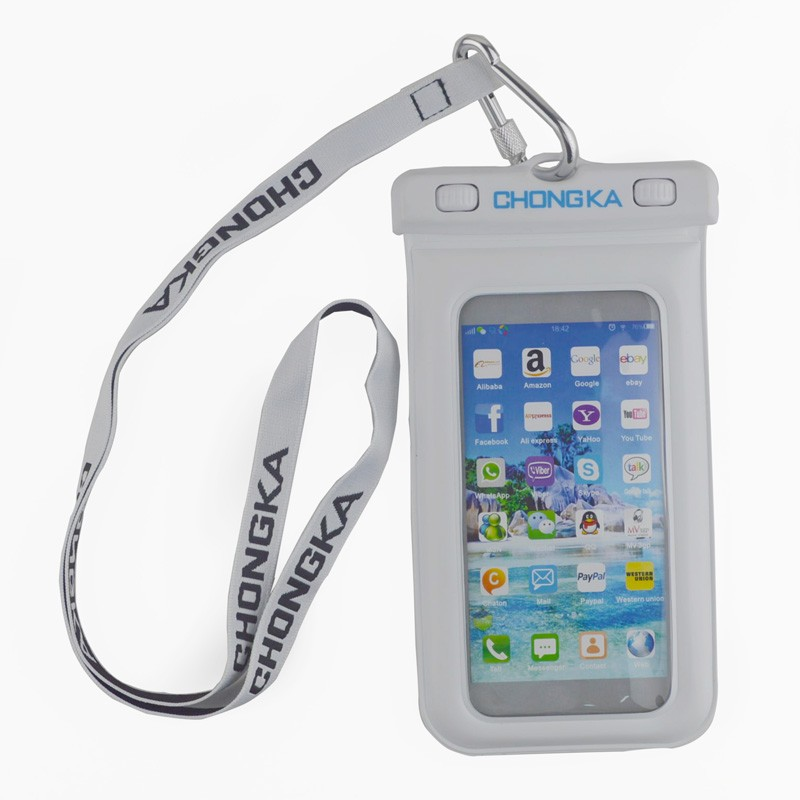 High sensitive plastic pvc eva waterproof cell phone bag with strip