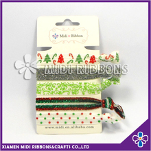 Wholesale Custom Elastic Ribbon Hair Ties for Christmas Holiday Celebration