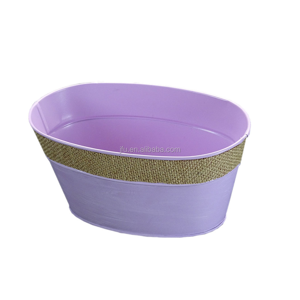 Wholesale Beautiful Pink color iron buckets use for flower plants