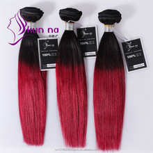 Cheap Brazilian hair Weave bundles two tone color T1B/Burgundy human hair bundles
