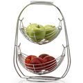 Chrome Wire Metal 2 Tiers Hanging Basket