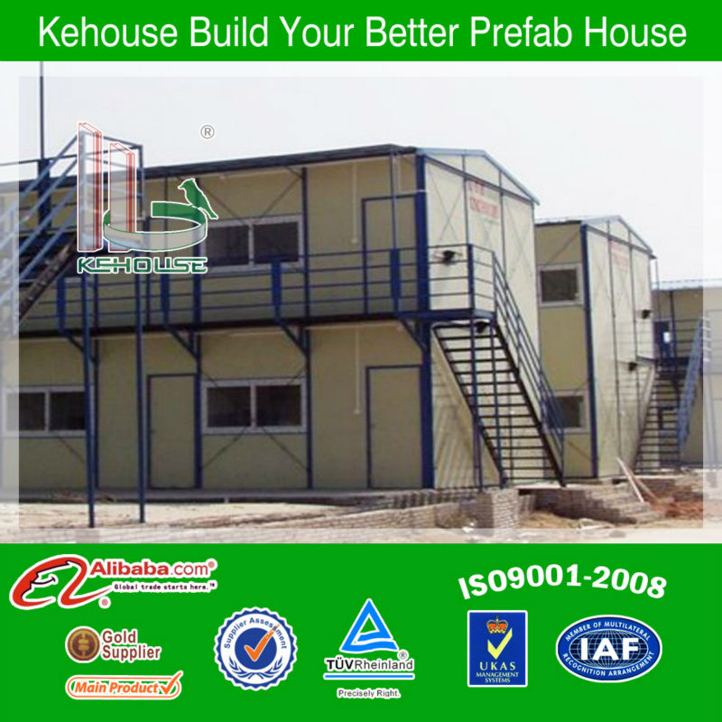 China 2 storey flat top qualified and modern prefab building/prefab office/port cabin