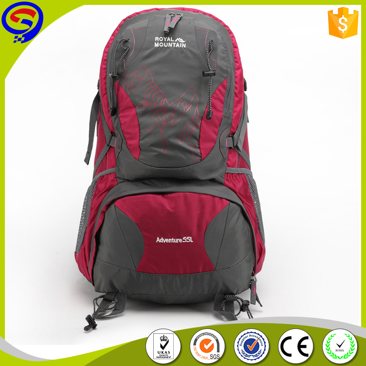 OEM water resistant travel bag, hiking backpack, rock climbing chalk bag with rain cover