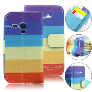 Colorful rainbow case pouch for samsung galaxy s3 mini i8190,flip leather cover