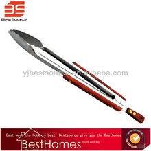 Kitchen Food Tongs in Stainless Steel With Wooden Slip Handle