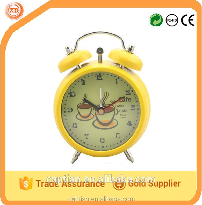 Metal double rings table clock for wholesale