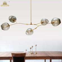 Nortic Pendant Lights Black Gold Bar Stair Dining Room bubble Glass Shade Retro Lindsey adelman chandelier Lamp