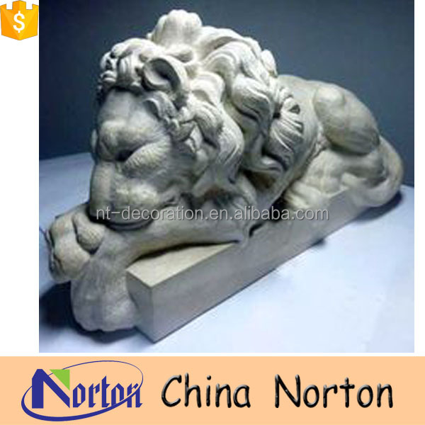 Hand carved marble garden ornament lay lions on the pedestal NTBM-L015Y