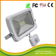 Factory Sale SMD Slim Shell White SMD2835 50W LED Floodlight Lamp with sensor